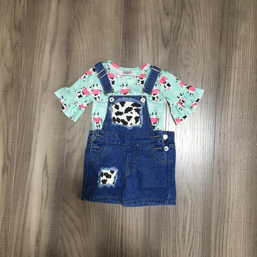 baby kids Overalls outfits girl milk cow shirt with heifer denim overalls children spring clothing set