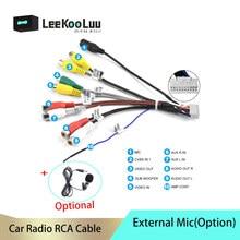 Leekooluu android rádio carro rca saída de fio externo microfone adaptador cabo universal para 2 din carro rádio rca saída