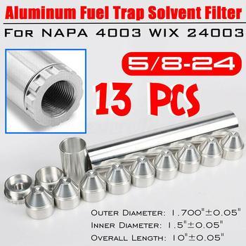 13 sztuk filtr paliwa samochodowego 1 2-28 lub 5 8-24 gwint 6061-T6 stopu aluminium filtr paliwa filtr rozpuszczalnika dla NAPA 4003 24003 10IN sitko tanie i dobre opinie OD 1 700 ±0 05 1 2x28 ID 1 5 ± 0 05 about 10 ±0 05 WIX 24003 aluminum 630g fuel capture solvent filter 5 8x24 Support
