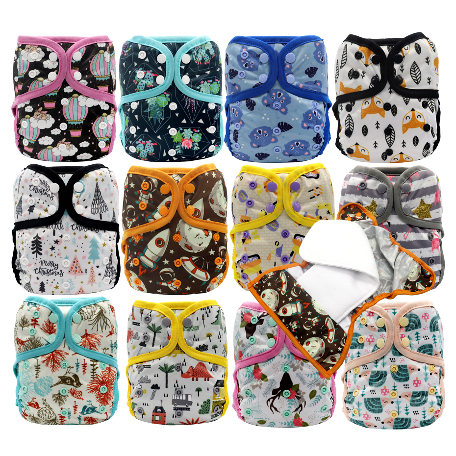 MABOJ Diaper Cover OS Cloth Diapers Baby Cover Insert Waterproof Nappies Breathable Adjustable Wool Nappy Bebe Double Gusset