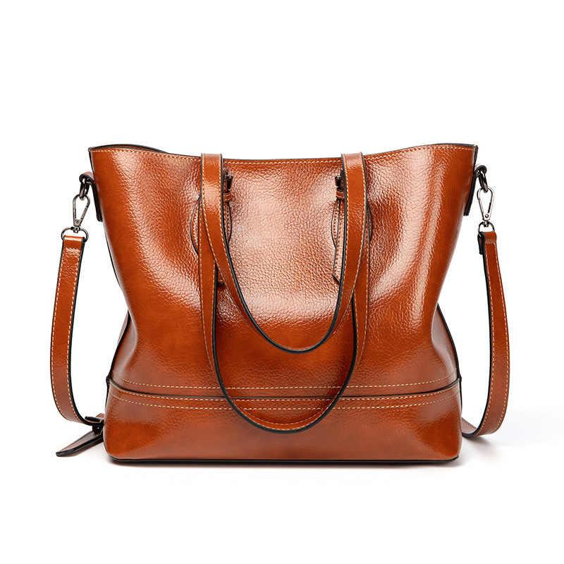 حقيبة جلدية أصلية حقيبة يد المرأة قدرة عالية امرأة حمل ريترو أسلوب بسيط المرأة أنيقة حمل حقيبة الكلاسيكية المتسوق 2019 C1005
