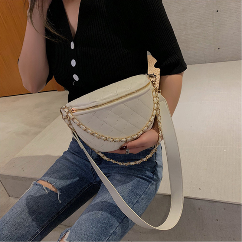 Fashion Pu Leather Women's Waist Bag Chain Rhombic Solid Color Multifunction Large Capacity Fanny Pack 2019 New Female Belt Bag