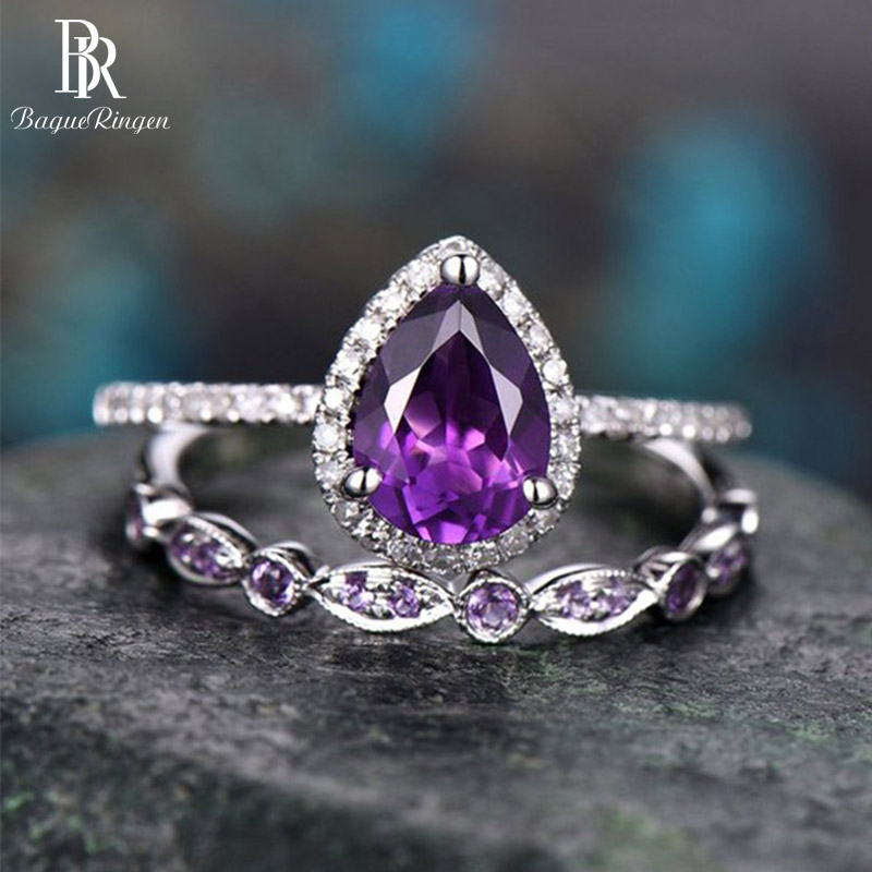 Bague Ringen Amethyst Ring For Women Silver 925 Jewelry Water Drop Shaped Gemstones Two Piece Suit Female Wedding Party Rings