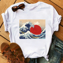 Maycaur Sun Over Wave Aesthetic T-Shirt Women Tumblr 90s Fas