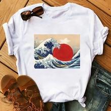 Maycaur Sun Over Wave Aesthetic T-Shirt Women Tumblr 90s Fashion Graphic Printed Tshirts