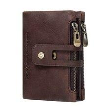 Мужской кошелек из натуральной кожи, кошелек для монет, маленький мини-держатель для карт, мужской кошелек, карманный, многофункциональный, двойная молния, кошелек для монет