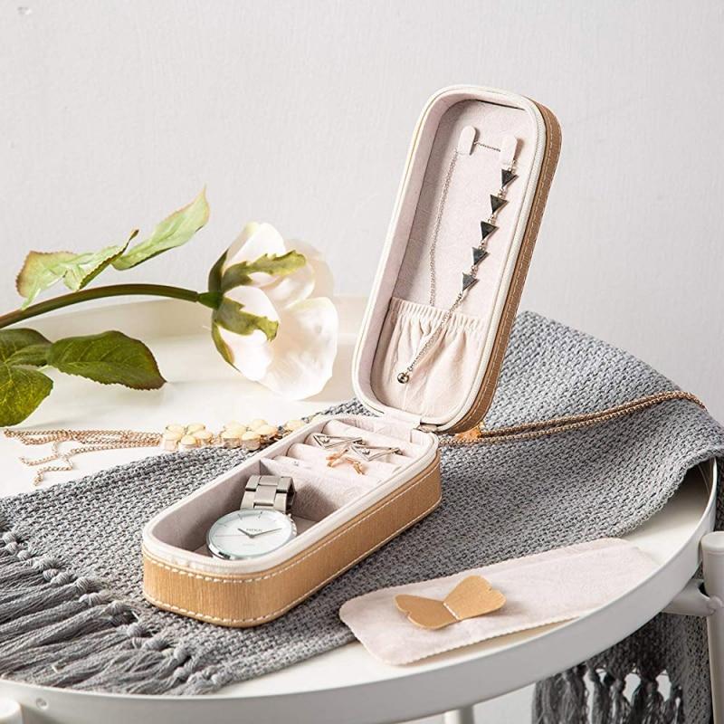 Avrupa tarzı takı saklama kutusu taşınabilir basit fermuar tipi mücevher kutusu seyahat için title=