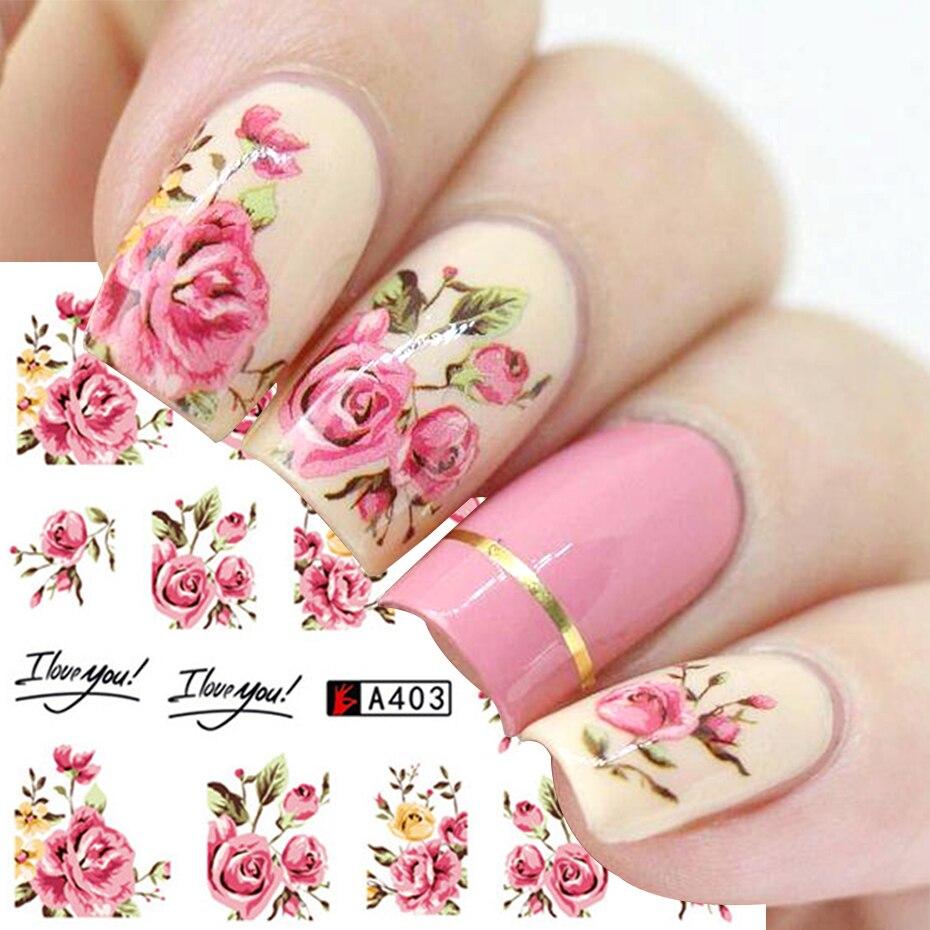 Наклейки серии цветов для украшения ногтей, 1 шт., водные переводные наклейки, наклейки, фольгированные обертывания, дизайн маникюра «сделай...