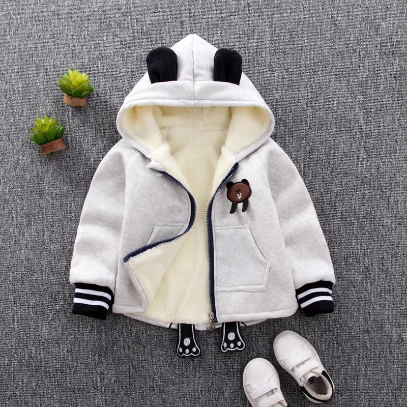 BOY'S Hooded Coat Autumn & Winter Childrenswear Children Plus Velvet Baby Zipper Hoodle Single Blouse