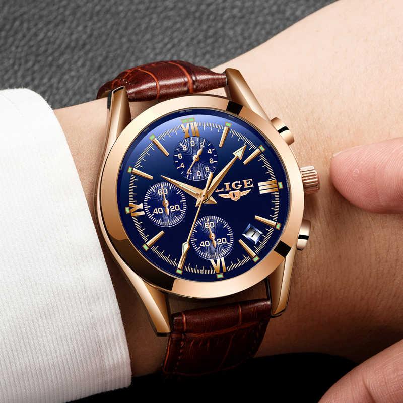 2019 אופנה עור עמיד למים קוורץ שעון Mens שעונים ליגע למעלה מותג יוקרה Creative חיוג תאריך שעון Relogio Masculino