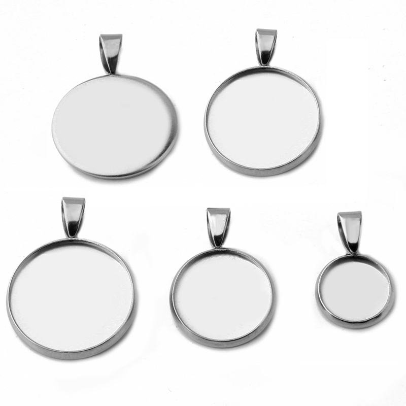 20pcs/lot Stainless Steel Pendant Settings Clasps Cabochon Base Bezel  Trays Blank Fit 6/8/10/12/14/16/18/20/25mm Jewelry Making