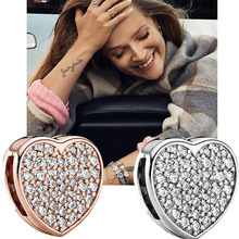 цена на New 925 Silver Shine CZ Heart Rose Gold Charms Beads Fit Reflexions Bracelet For Women PAN Jewelry