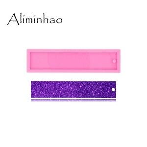 Dy0527 molde de silicone líquido brilhante, resina uv, retângulo, marcadores, resina, artesanato, para faça você mesmo, pingente, fabricação de jóias