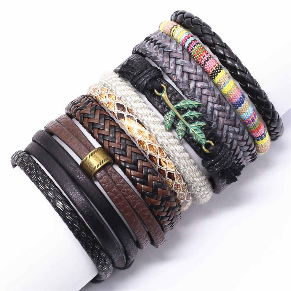 Новый Панк Бохо кожаный браслет для мужчин Homme переплетение с узором украшение в форме листка браслеты для женщин ювелирные изделия Pulsera Hombre Erkek Bileklik Bijoux