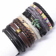 New Punk Boho Leather Bracelet Men Homme Weave Wrap Leaf Charm Bracelets for Women Jewelry Pulsera Hombre Erkek Bileklik Bijoux(China)