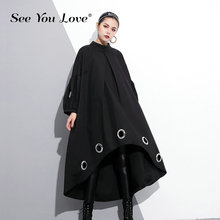 See you love 2019 New Spring  Round Neck Long Sleeve Solid Color Black Metal Ring Big Size Hollow Out Dress Women Fashion Tide punk style solid color hollow out ring for women