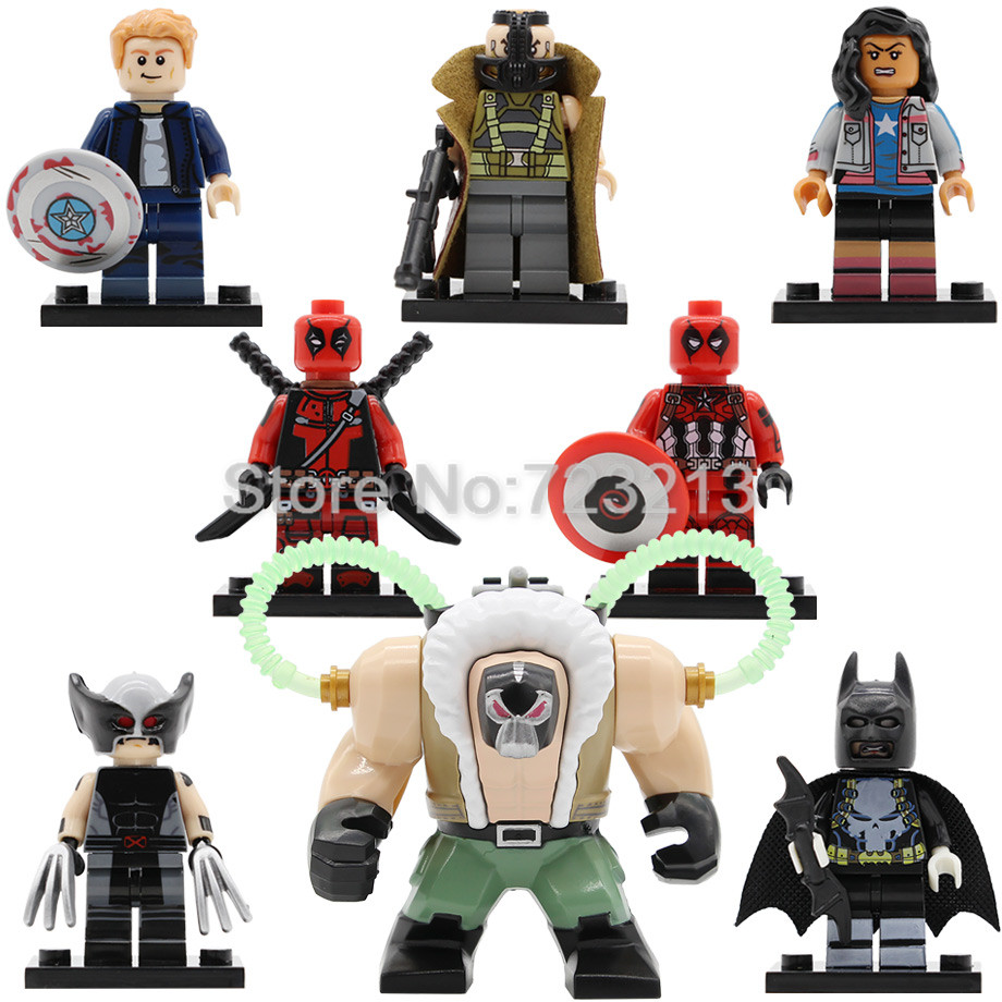 Single Sale Super Hero Bane Figure Wolverine Deadpool Miss America Captain America Batman Building Blocks Bricks Toy Legoing