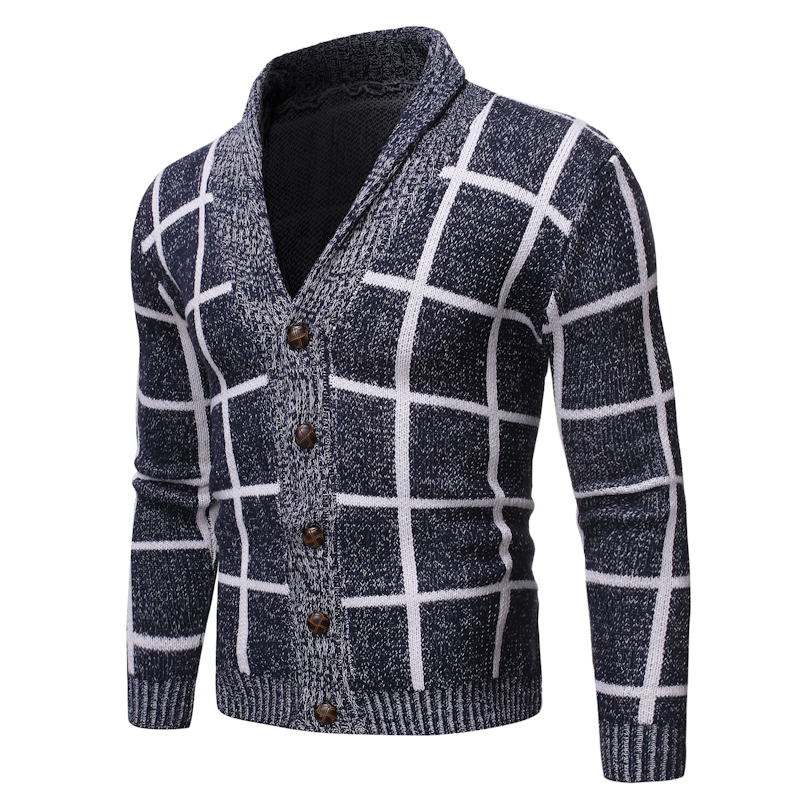 Men's Spring Autumn Male Slim Sweater V Neck Cardigan Sweater Boy Solid Print Jacket Coat Casual Collar Knitting Button Sweaters