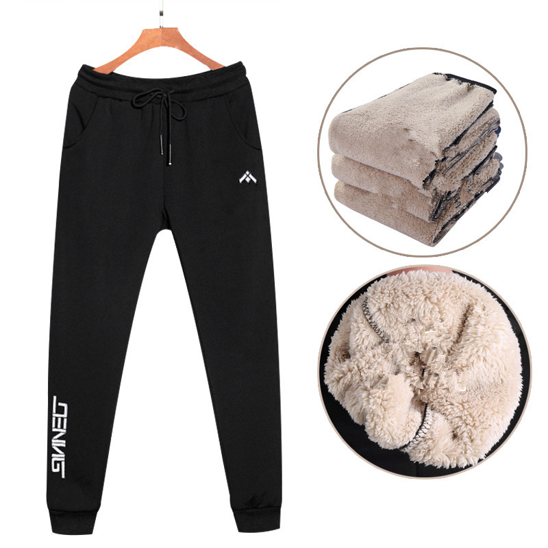 Men's Super Winter Warm Pants Outside Fleece Joggers Thicken Sweatpants Heavyweight Zipper Trousers Streetwear Men 8xl