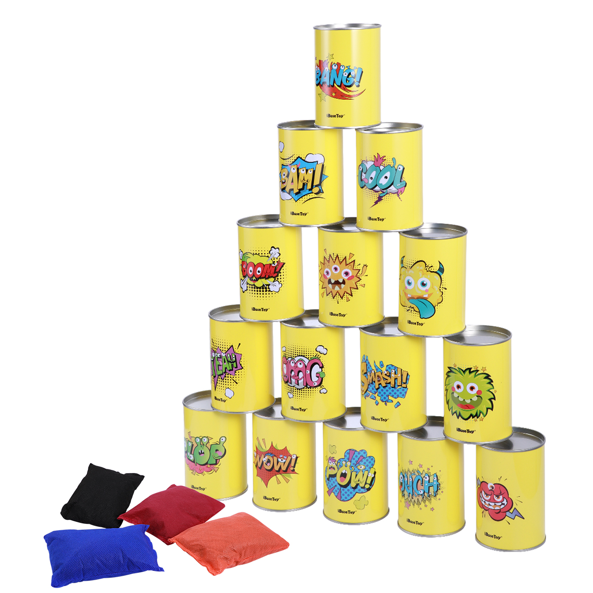 Bean Bag Can Toss Game Set Party Supplies Tin Can Alley Game For Kids Birthday Parties 15 Tin Cans And 4 Bean Bags Included