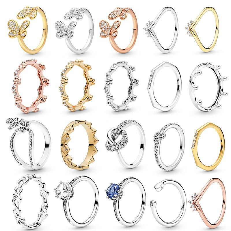 Oferta especial prata cor borboleta coroa anéis de dedo para as mulheres ouro cristal zircon anel de noivado casamento jóias presente