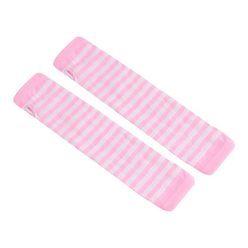 Women Girls Knitted Fingerless Long Gloves Stripes Printed Over Elbow Length Winter Stretchy Arm Warmer Sleeves With Thumb Hole