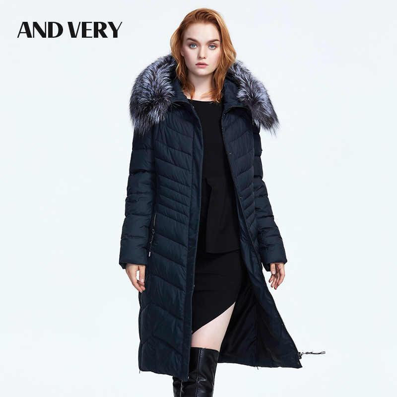 ANDVERY 2019 hiver nouvelle collection avec un col en fourrure de haute qualité à capuche épais coton chaud parka hiver pour les femmes 8303