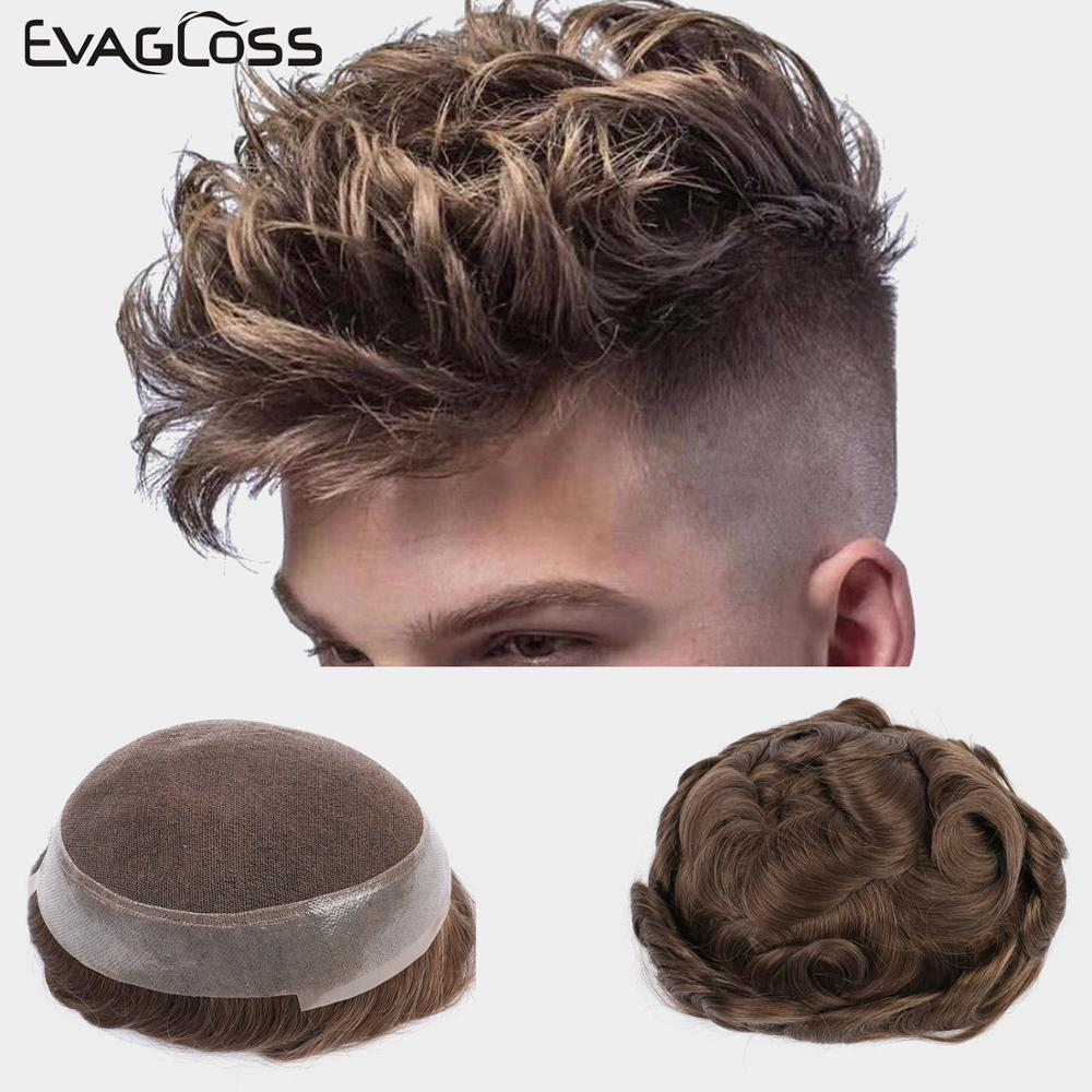 EVAGLOSS Men's Wig Swiss Lace And PU Hair Prosthesis Replacement Systems Handmade Mens Wig Hairpiece Natural Hairline Men Toupee