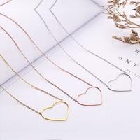TSHOU180 Heart shaped titanium steel pendant women clavicle necklace