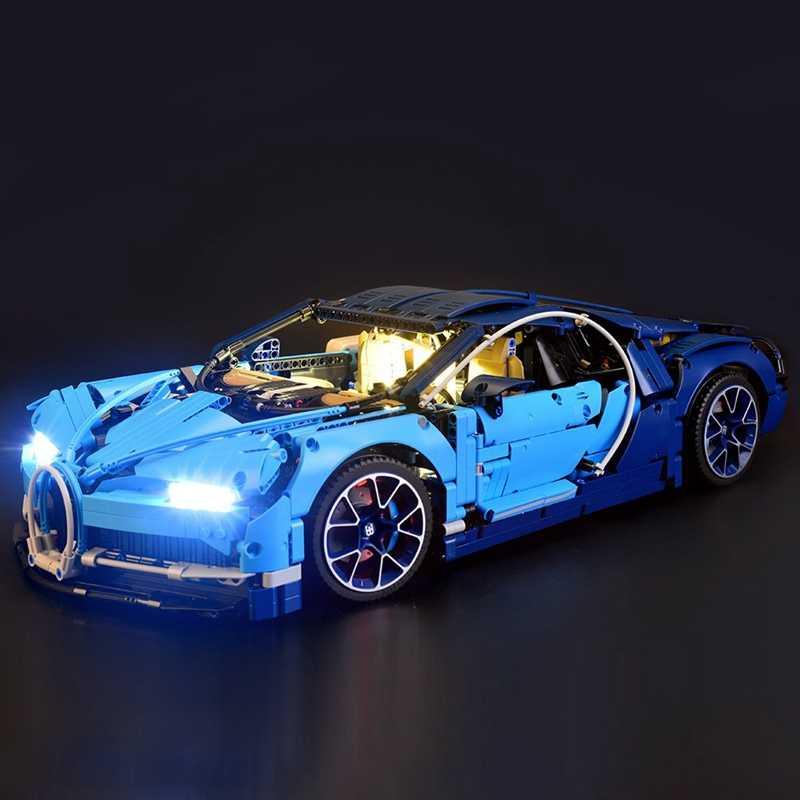 Lekki garnitur dla (bugatti chiron) klocki do budowy modelu-zestaw oświetlenia led
