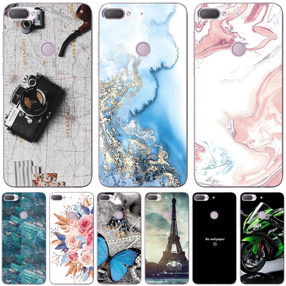 Sacos de telefone & casos para htc u11 u11 mais desejo 12 desejo 12 mais caso capa moda mármore inkjet pintado concha saco