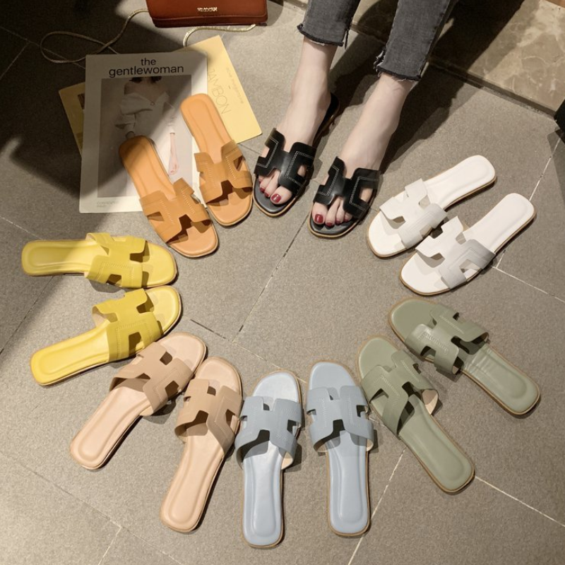 2020 New The New Fashion H Letter Word Korean Lady Slippers Slippers Slip Slope With Summer Tide Flat Sandals Women's Shoes