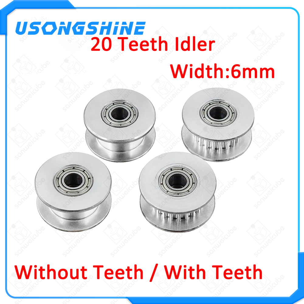 Pack GT2 Idler Pulley 20 Teeth 4mm Bore 6mm Width Timing Wheel Aluminum For 3D