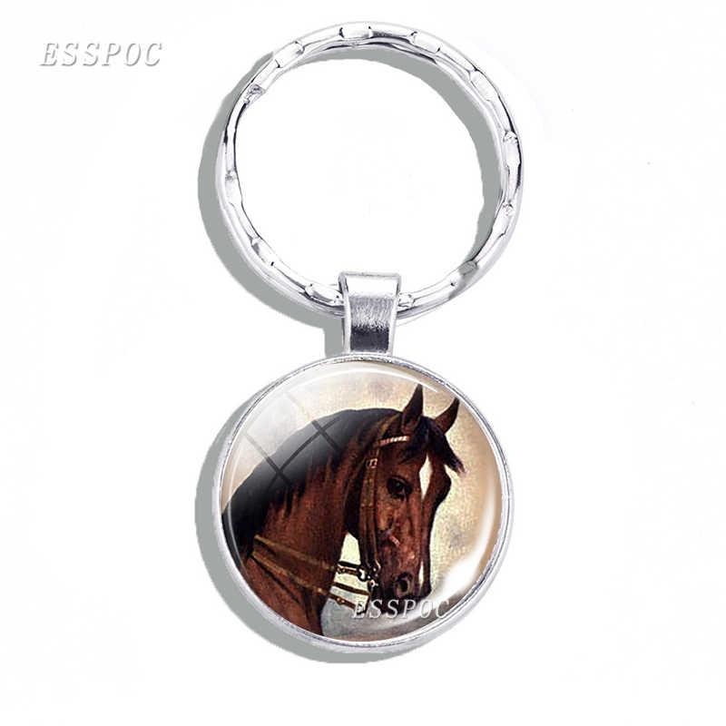 Ngựa Series Kính Cabochon Móc Khóa Kim Loại Móc Khóa Móc Chìa Khóa Ô Tô Phụ Kiện Thời Trang Cho Nam Nữ Valentines Tặng Ngựa Người Yêu