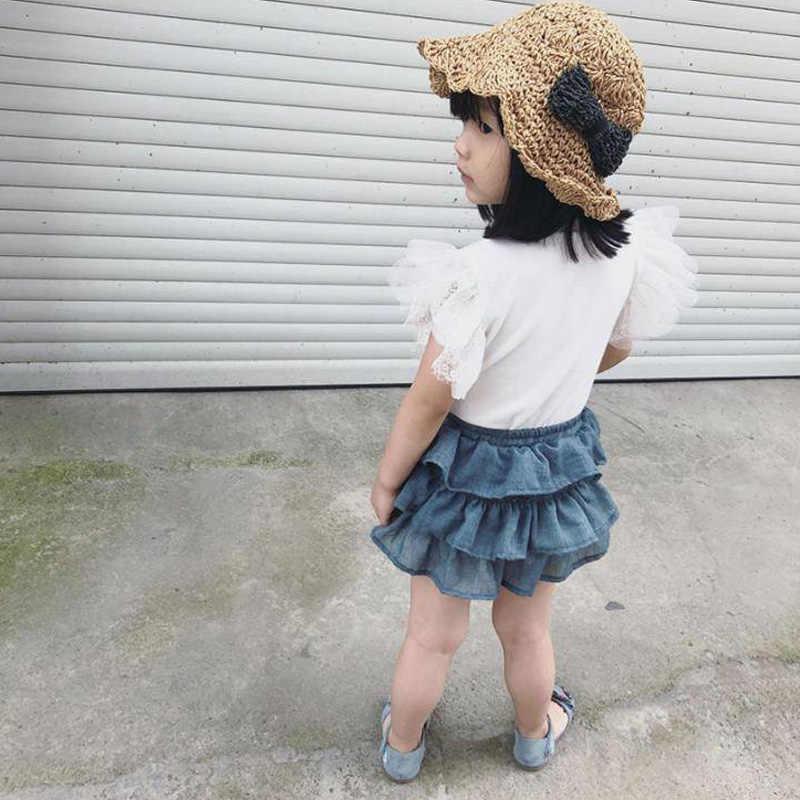 Lato nowa słodka dziewczynka warstwowe krótkie spódniczki dzieci piękny elastyczny pas jednolity kolor spódnice Tutu dla dzieci dziewcząt