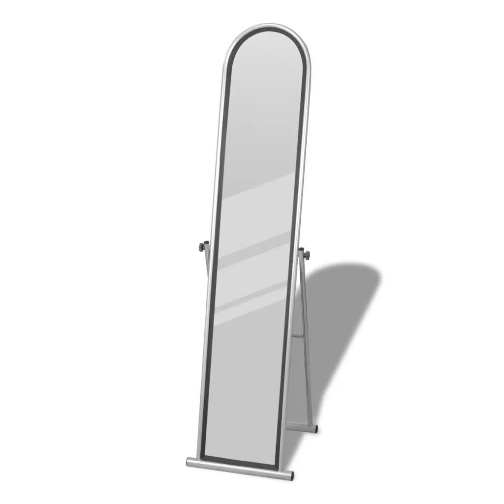VidaXL Free Standing Floor Mirror Full Length Rectangular Grey Steel + Lacquer Coated 144.5 X 24.5 Cm Mirror Size V3