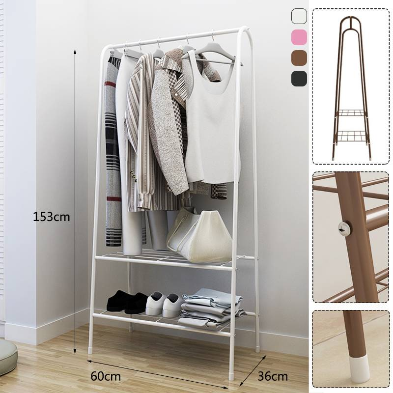 Simple Metal Iron Multifunctional Coat Rack Floor Standing Clothes Hanging Storage Shelf Clothes Hanger Racks Bedroom Furniture