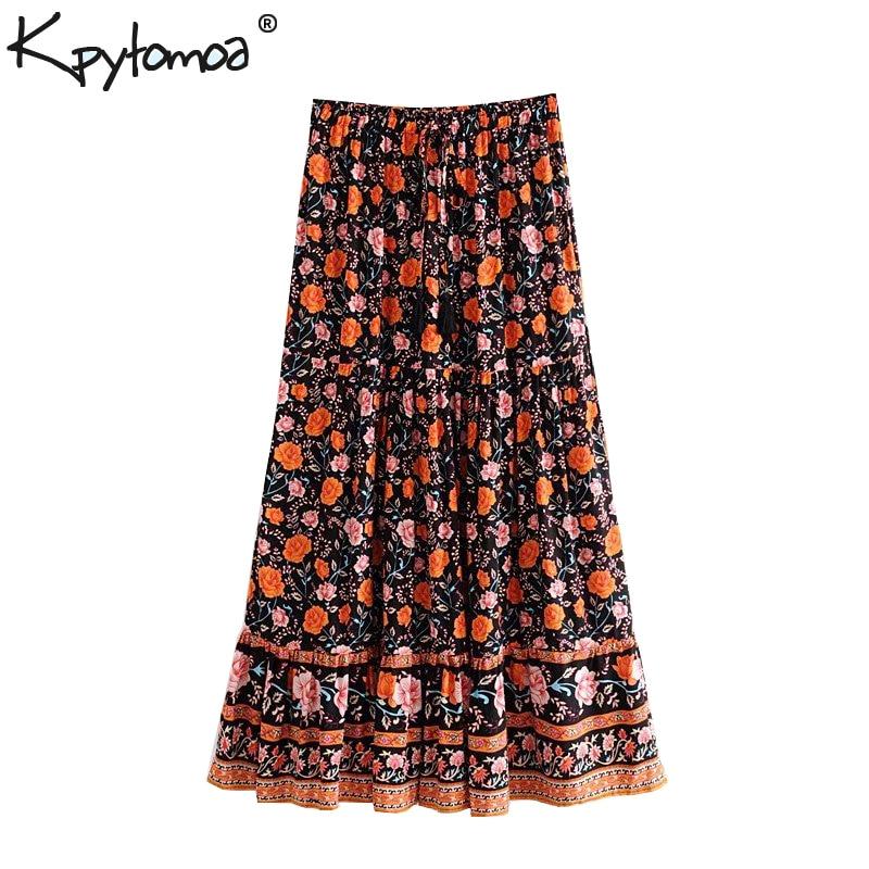 Boho Chic Summer Vintage Floral Print Pleated Midi Skirt Women 2019 Fashion Lace Up Tassel High Elastic Waist Beach Skirts