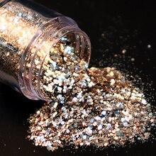 1 бутылка, розовое золото, серебро, Микс, дизайн ногтей, блестки, блестки, сделай сам, блестящие пайетки, Типсы, шарм, пигмент, хлопья, гель, украшения для ногтей, 10 мл