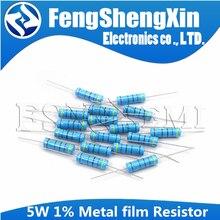Резистор металлический пленочный 10 шт./лот 5 Вт 1%, сопротивление 0,1r ~ 10M 1K 1,2 1,3 3,3 10 22 33 120 360 18 390 470 82 R K ohm 10K 100K 1M