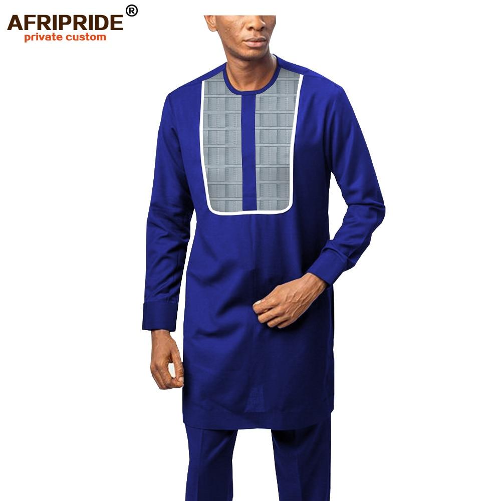 2019 African Clothing For Men Dashiki Tracksuit Long Sleeve Print Shirts+Ankara Pants Tribal Set Attire AFRIPRIDE A1916054