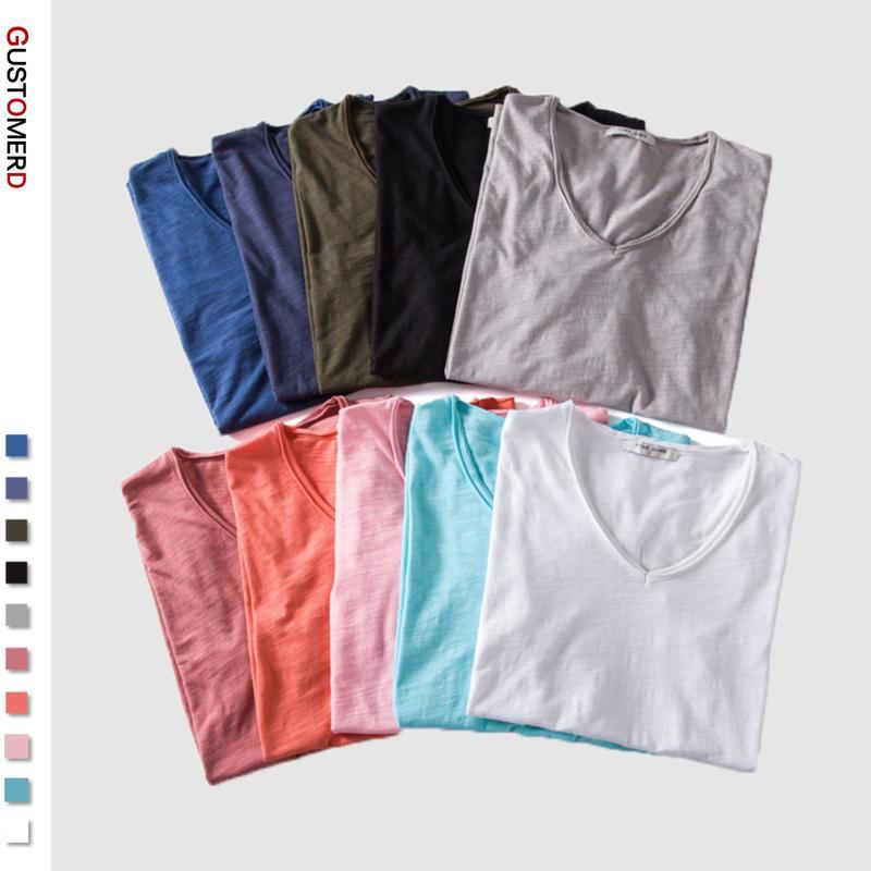 2020 Summer 5 PCS 100% Cotton Soild T Shirt Men V-Neck Short Sleeve Casual Mens T-Shirts Soft Feel High Quality Male Tops Tees