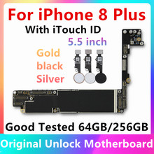 For iphone 8Plus 8P Original IOS system Logic board+Fingerprint 64GB 256GB Full unlocked mainboard for iphone 8 Plus motherboard(China)