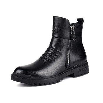 italian brand men casual warm plush winter boots black genuine leather cotton shoes platform ankle snow fur boot sapatos botas