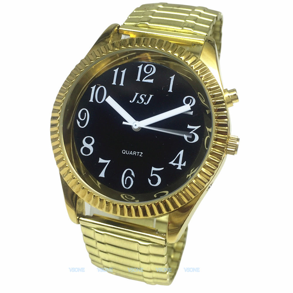 English Talking Watch With Alarm, Talking Date And Time, Black Dial, Expanding Bracelet TA-G302