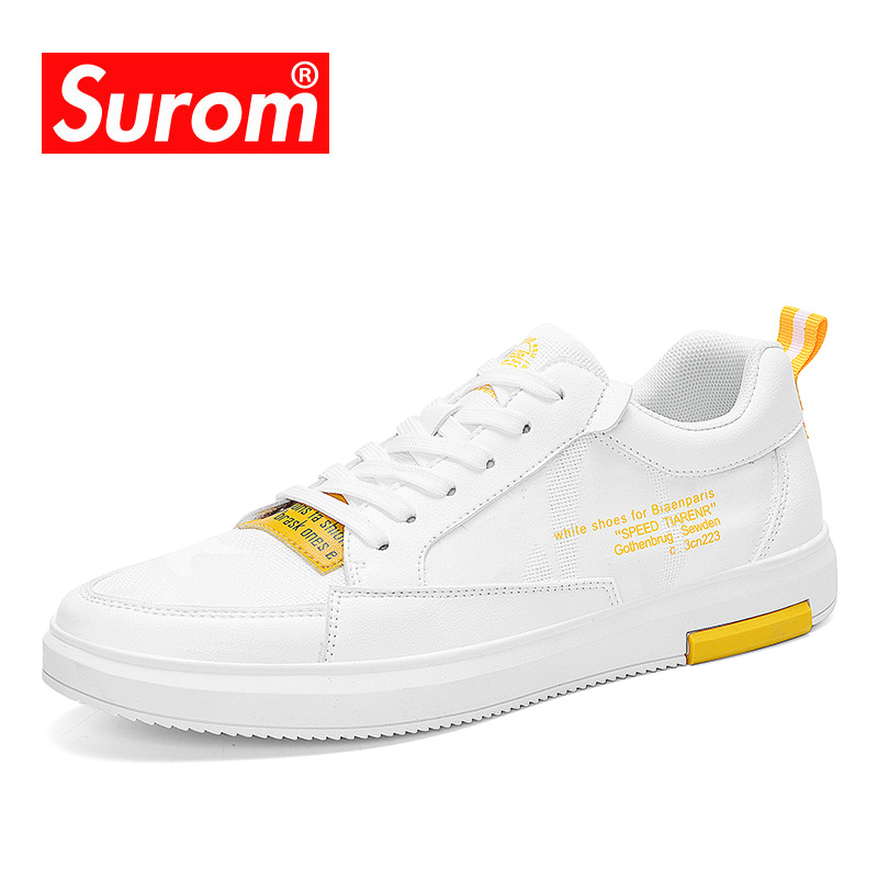 SUROM Summer Clearance Luxury Brand Men s Shoes Breathable Fashion Sneakers Male Mesh Casual White Shoe