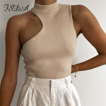 FSDA 2021 Turtleneck Crop Top Knitted Women Brown Casual Summer Basic T Shirts Y2K Sexy Off Shoulder Black Sleeveless Tank Tops