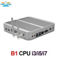 Partaker B1 Fanless Mini Desktop Computer Mini PC with Intel i3 4005U/5005U/i5 4200U/5200U/i7 4500U HD Port VGA 4USB 3.0 Win 10