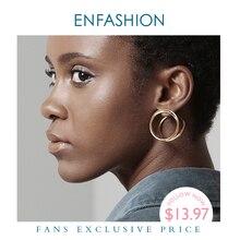 ENFASHION Multi schicht Kreis Stud Ohrringe Für Frauen Punk Geometrische Einfache Linie Ohrringe Erklärung Mode Schmuck Ohrringe 1032