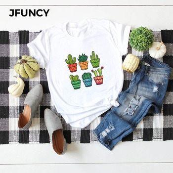 JFUNCY Plus Size New Print T Shirt Women Oversize Summer T-shirts Female 100% Cotton Short Sleeve Tees Top Woman Casual Tshirt jfuncy funny hedgehog print plus size women t shirt woman t shirt summer cotton short sleeve female tees lady tops casual tshirt